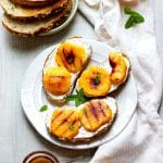 Grilled Peach Honey Chia Toast
