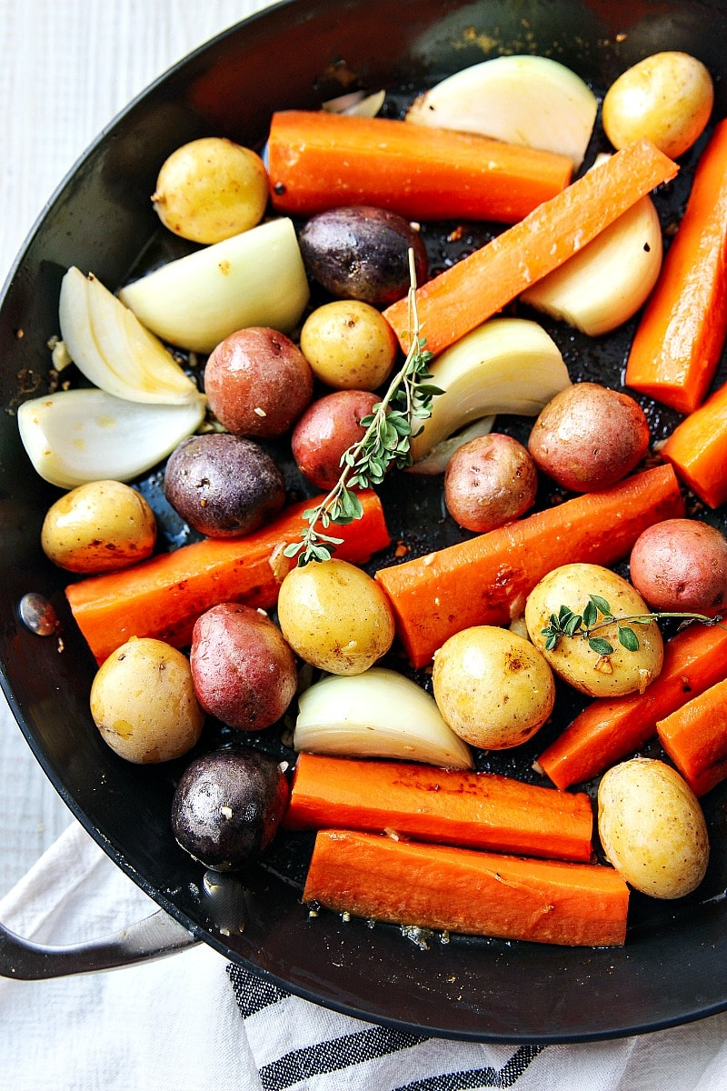 All the vegetables roasted in a skillet