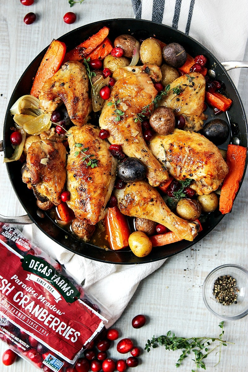Roasted Chicken in a skillet with veggies