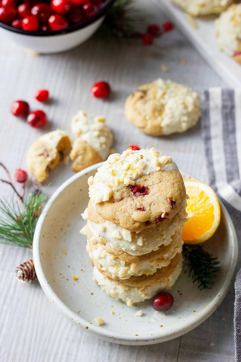 Cranberry Orange White Chocolate & Almond Cookies