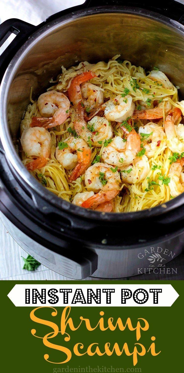 3-minute Instant Pot Shrimp Scampi with angel hair pasta! #instantpotshrimpscampi #shrimpscampi #instantpotrecipes