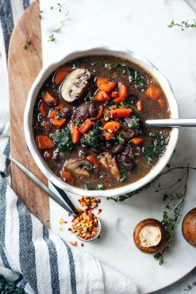 Vegetarian Black Bean Mushroom Soup