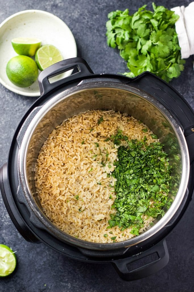 Rice and chopped greens in an Instant Pot