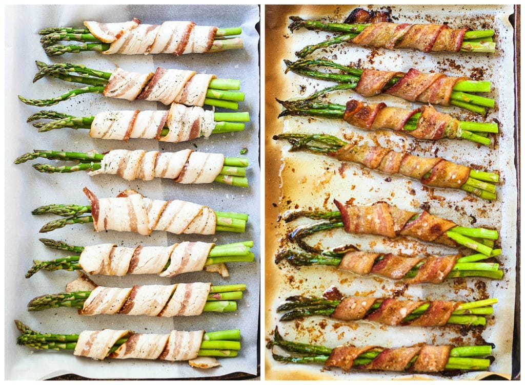 Asparagus in bacon before and after cooking in a parchment-lined sheet pan
