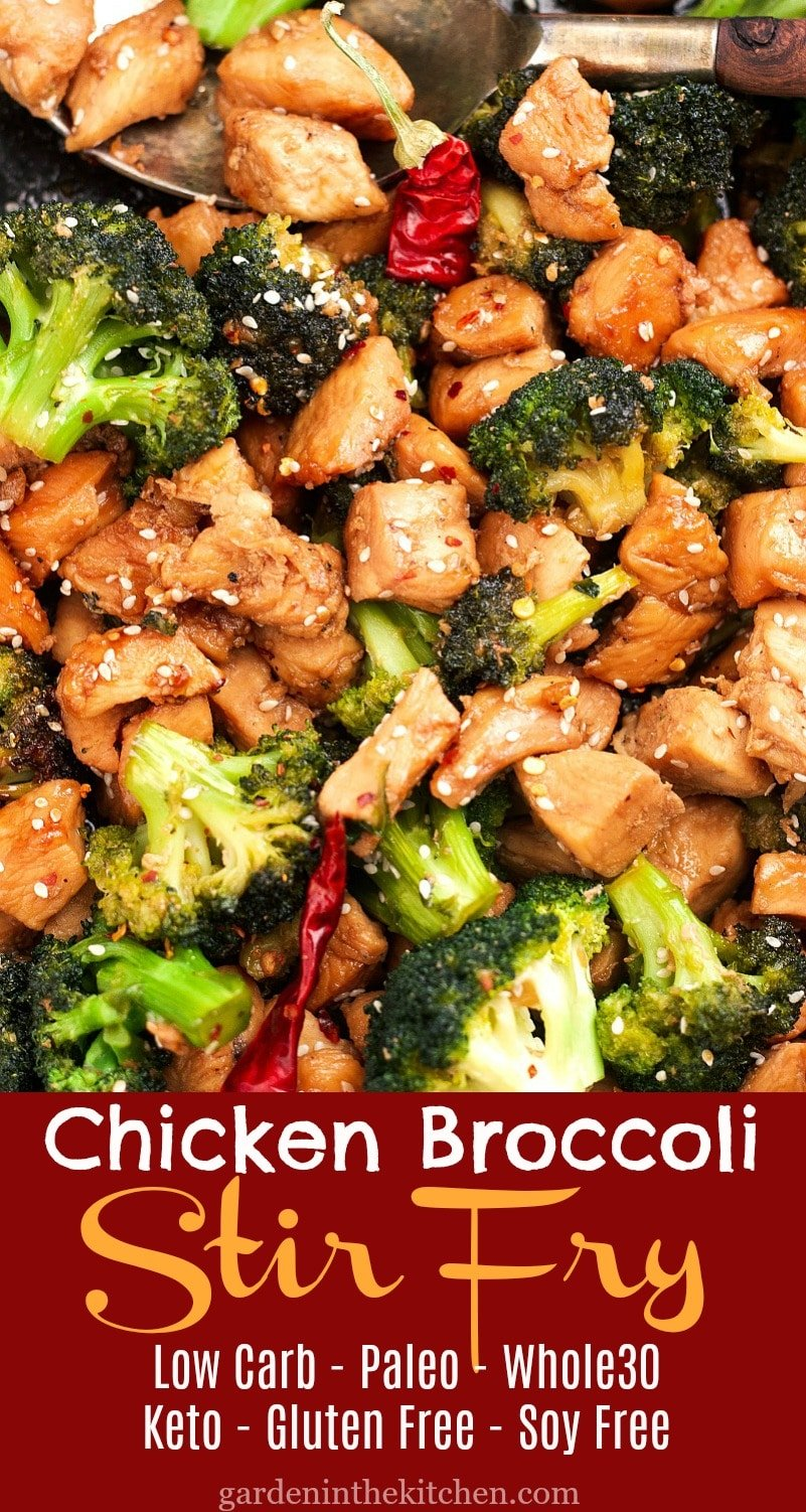 Healthy Asian-style Chicken Broccoli Stir Fry recipe that is free of soy and gluten, also Paleo and Whole30 approved! #chickenbroccolistirfry #stirfry #whole30chickenbroccoli #lowcarbchickenrecipe #paleochicken #ketodinnerideas #glutenfree #soyfree