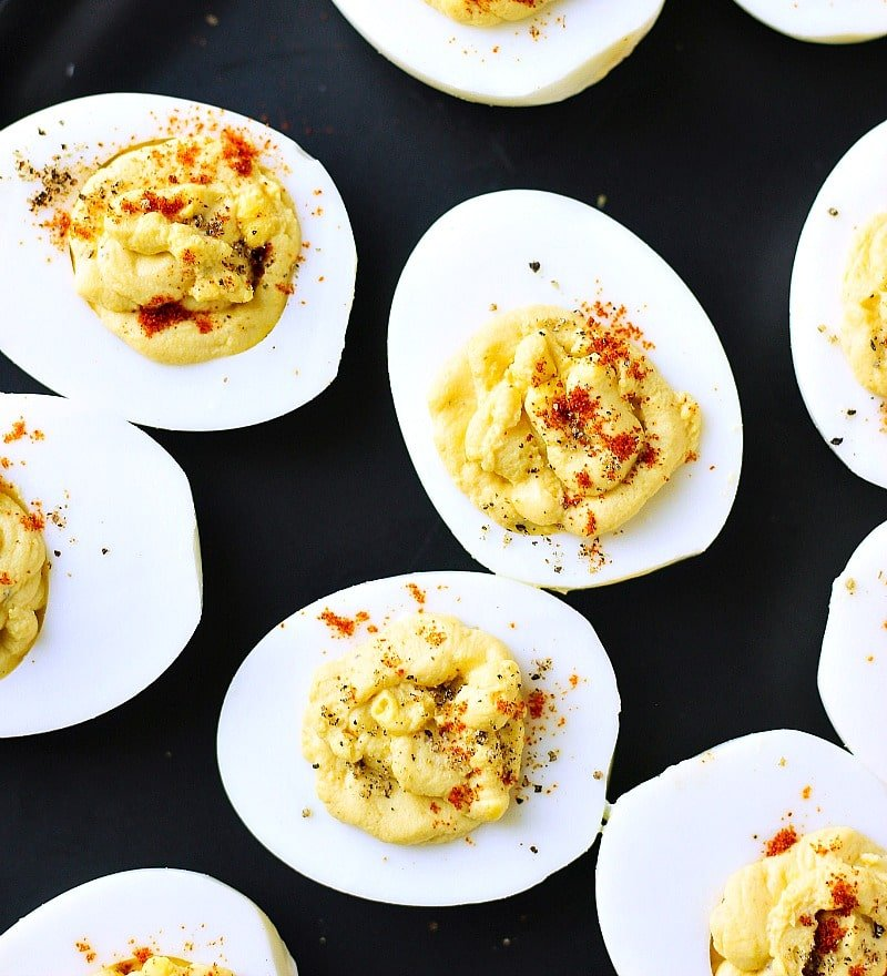 Sriracha Mayo Deviled Eggs