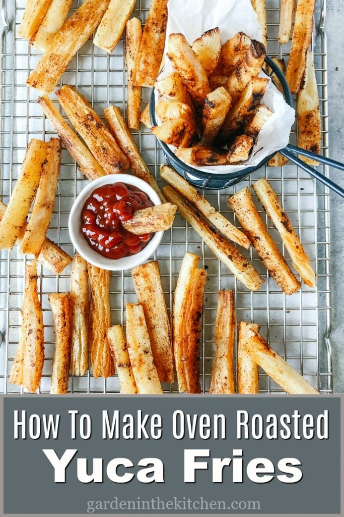 Yuca fries in a cooling rack with a small bowl of ketchup