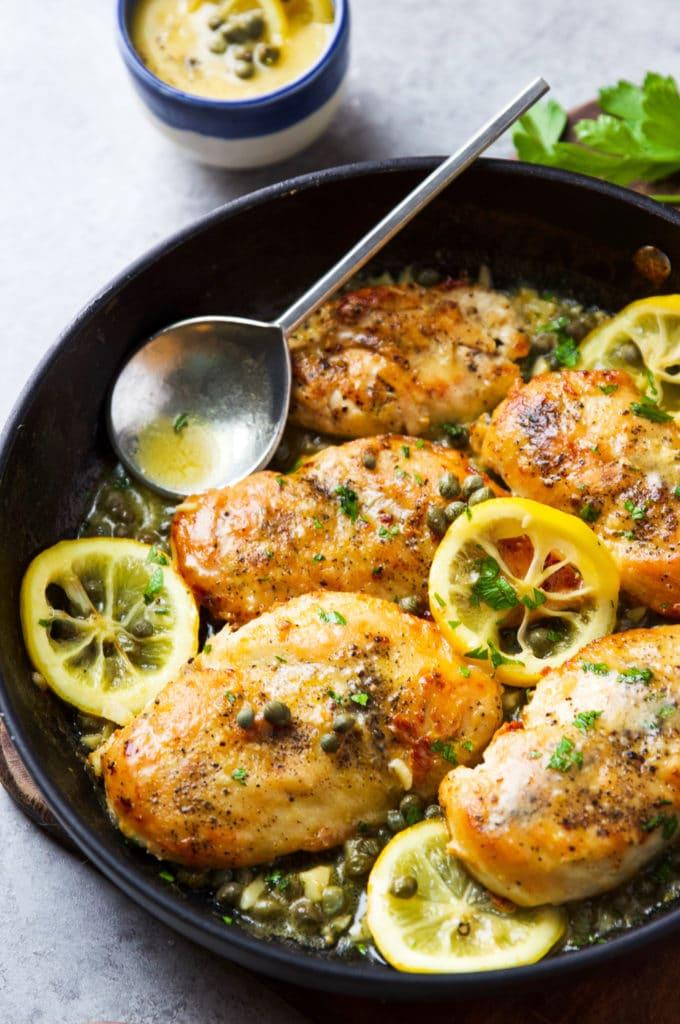Lemon Chicken Piccata in a skillet