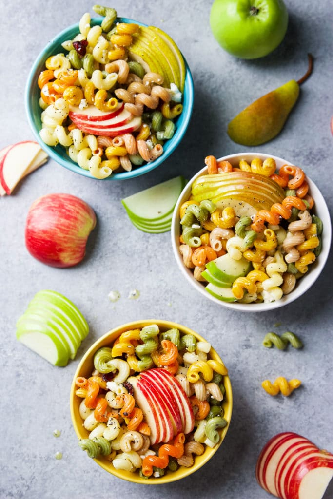 Fall pasta salad in three bowls