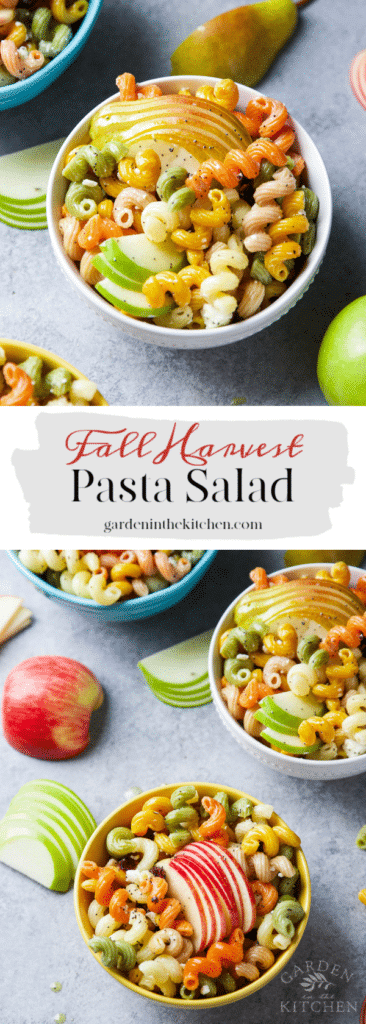 Fall Harvest Pasta Salad served in a number of bowls surrounded by pears and apples