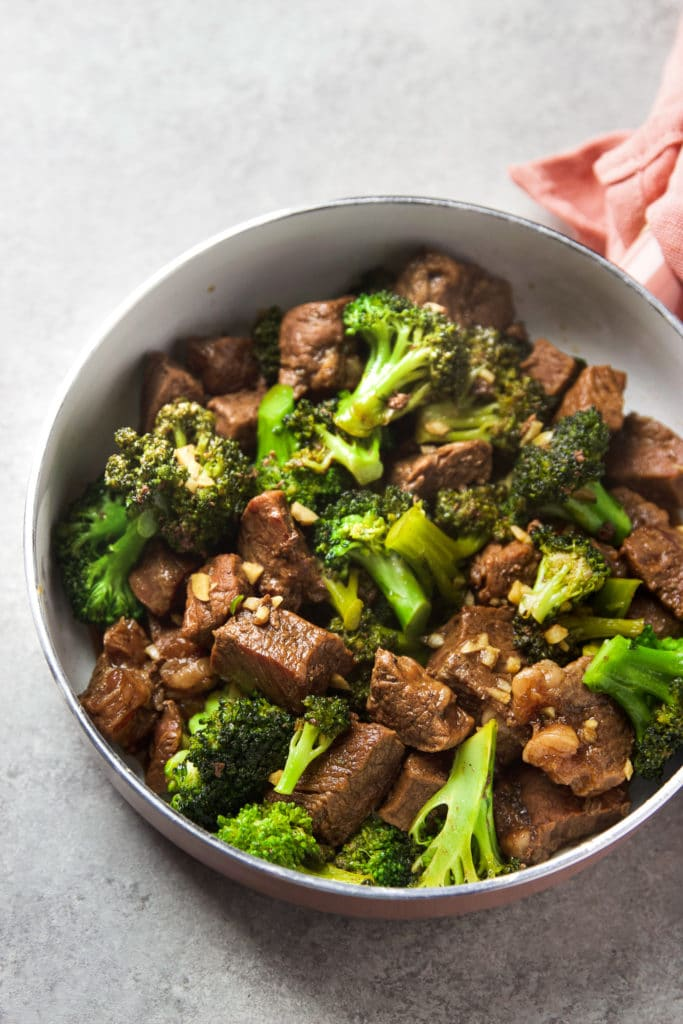 Broccoli and Beef Stir Fry in a large pan