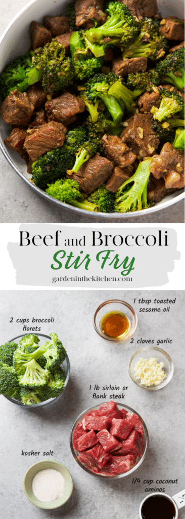 Stir Fry Beef and Broccoli in a pan and the 5 ingredients in their own containers: broccoli florets, sesame oil, chopped garlic, sirloin beef, kosher salt, ground black pepper and coconut aminos