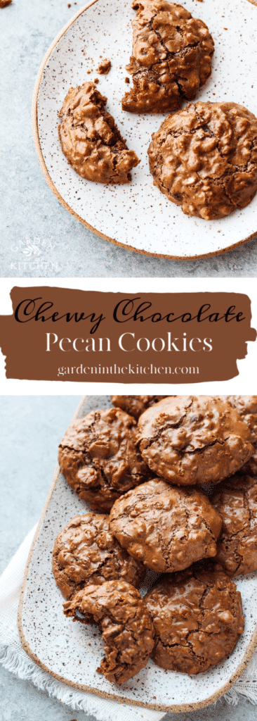 Chocolate pecan cookies on two plates