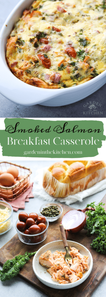 Smoked Salmon Breakfast Casserole and ingredients used for the recipe