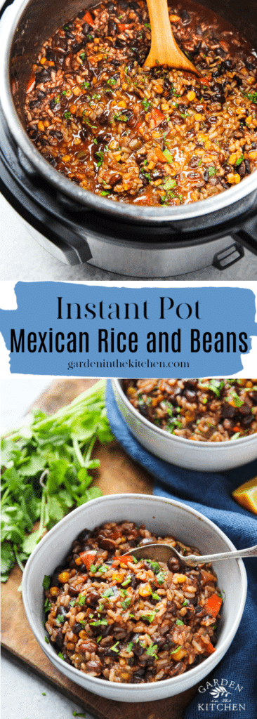 Beans and Rice an instant pot with a wooden spoon and the dish in two white bowls