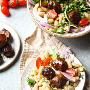 chicken meatballs cannellini salad