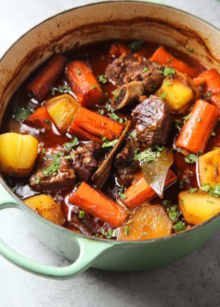 Healthy and Hearty Beef Stew with chuck roast, beef short ribs, potatoes and carrots, cooked in a delicious and fragrant broth.