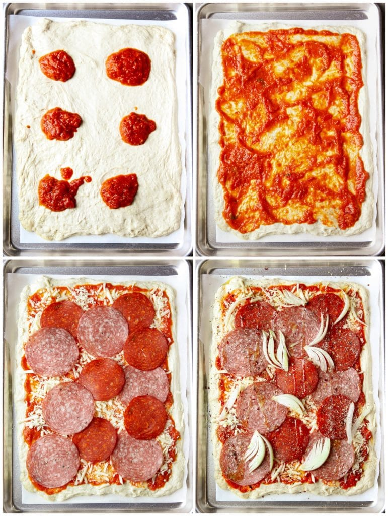 Different stages of assembling the pizza- from spreading the homemade dough on a sheet pan to adding the toppings one by one.