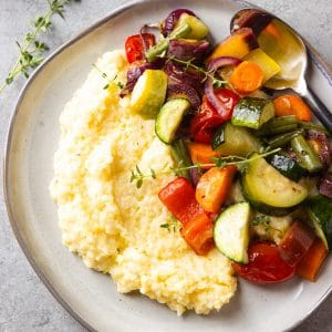 roasted vegetables creamy polenta