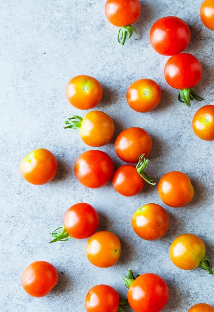 sweet 100 cherry tomato variety, freshly picked from the garden