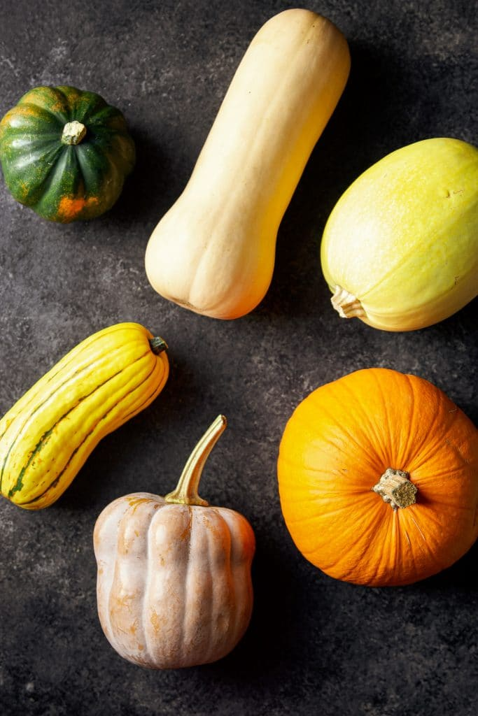 six winter squash varieties