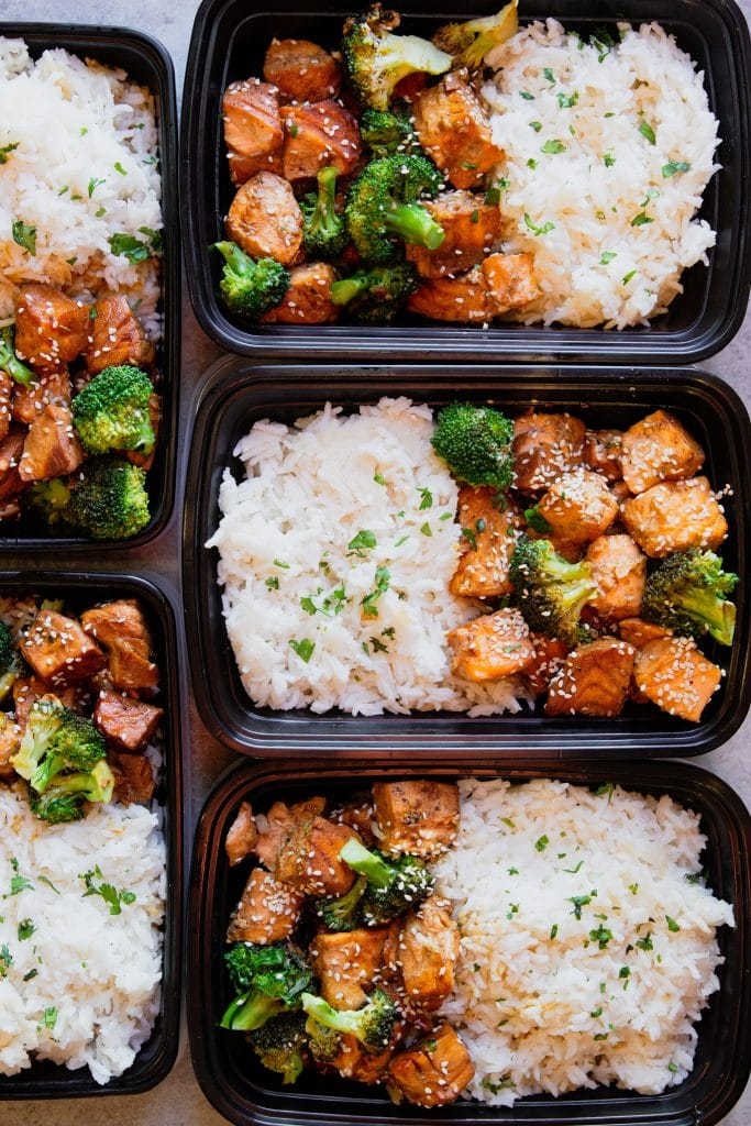 Salmon and broccoli stir fry meal prep