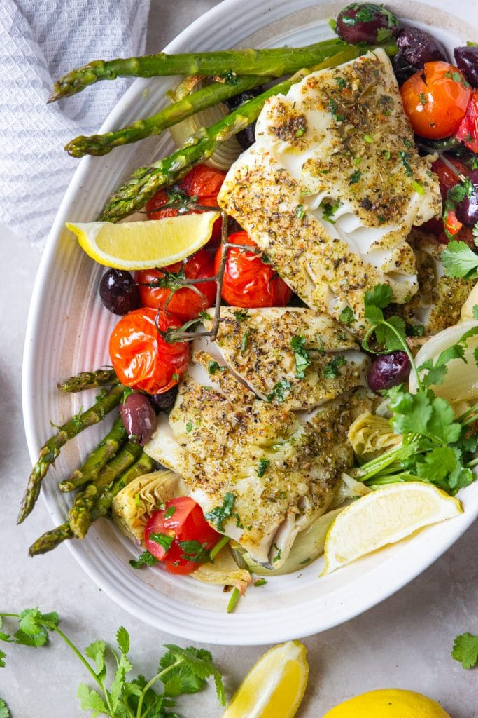 This Sheet Pan Mediterranean Cod is loaded with veggies!