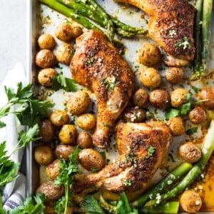 chicken and potatoes sheet pan