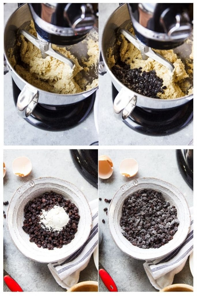A photo collage of ingredients inside of a stand mixer. Two bottom images of dried currants with flour being stir into currents.