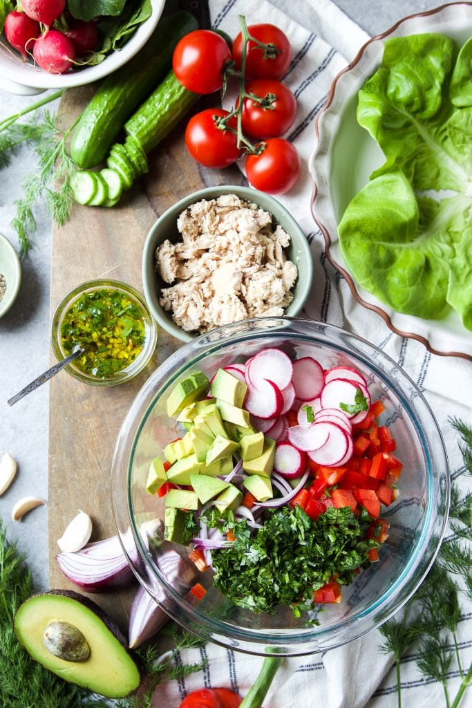 fresh cut up ingredients in a salad bowl