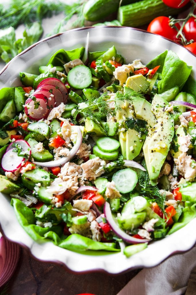 green salad with tune in a salad plate