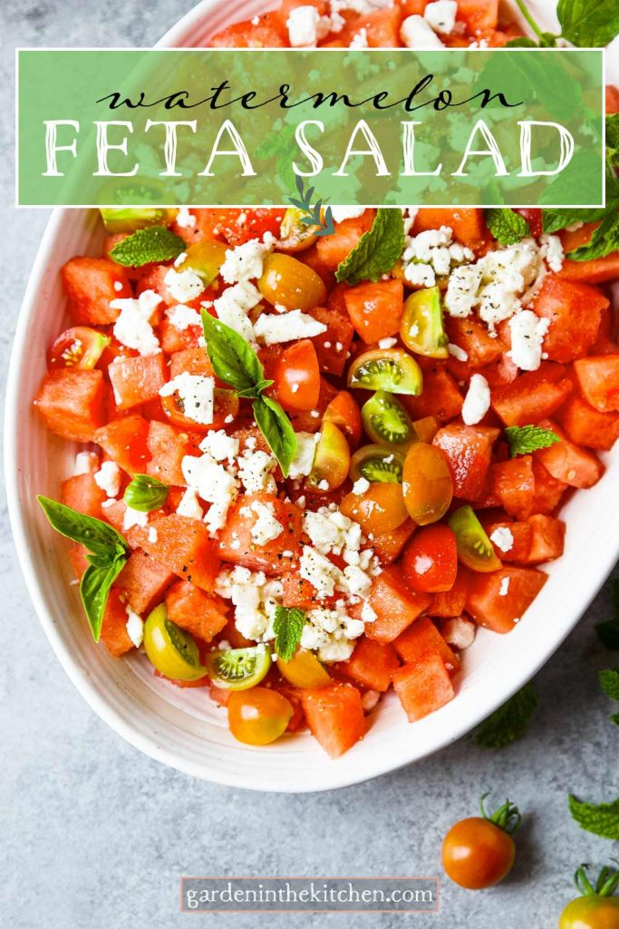 watermelon and feta salad with tomatoes and basil