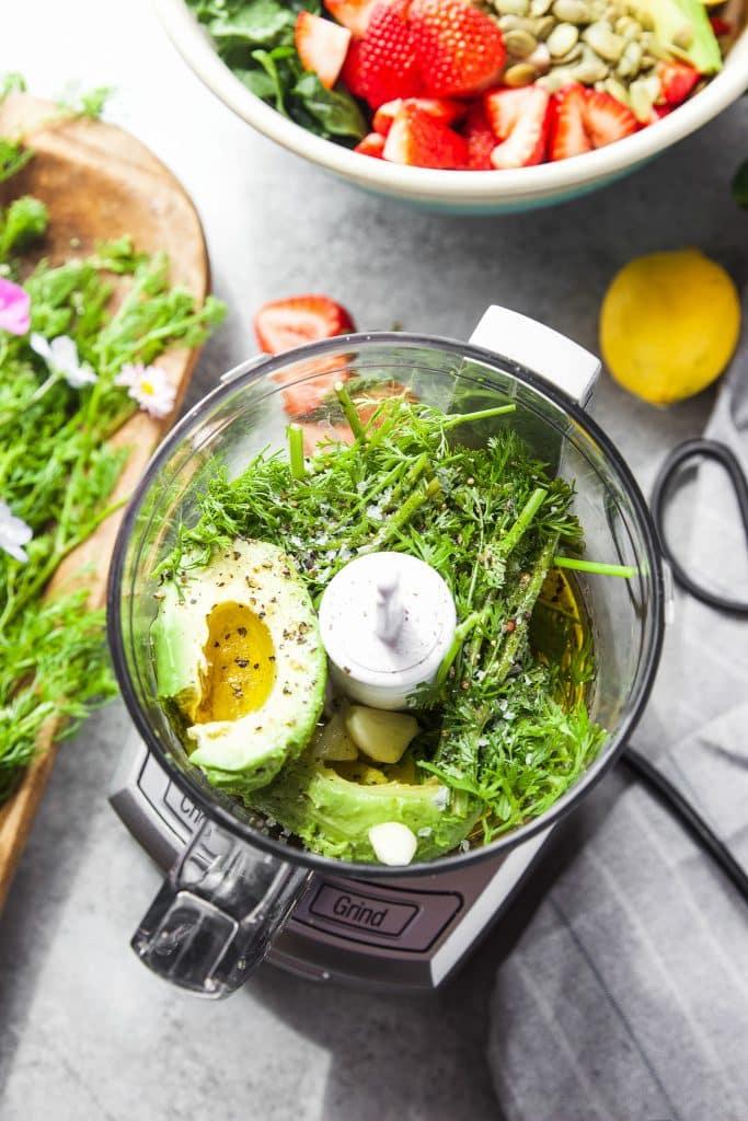 ingredients for cilantro avocado dressing in food processor